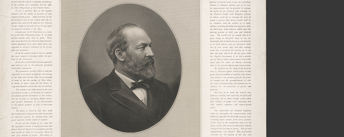 Formal right-facing sepia-toned portrait of President James A. Garfield from his obituary announcement.