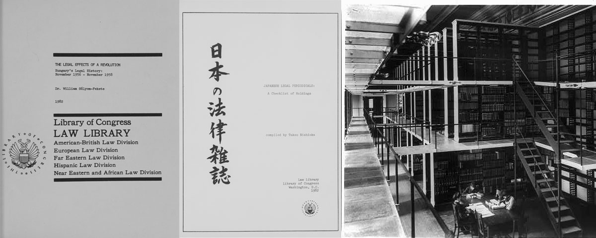 On the left side of the image are a few legal reports, one is in English and the other is in English and Japanese. On the right side is a photograph of the inside of the Law Library with a small team of researchers studying at a table.