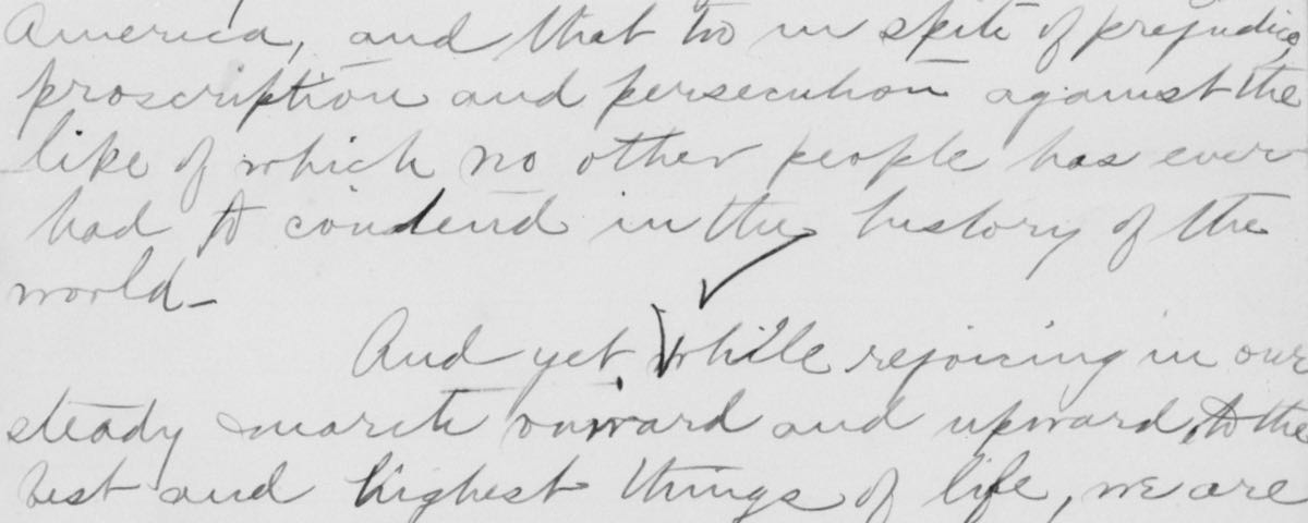 Close up of hand-written text of Mary Church Terrell's first speech to the NAACP
