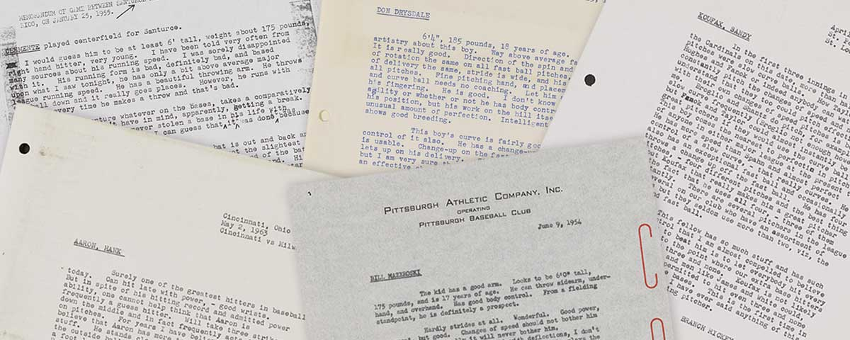 Collection of typed report pages by baseball scout Branch Rickey